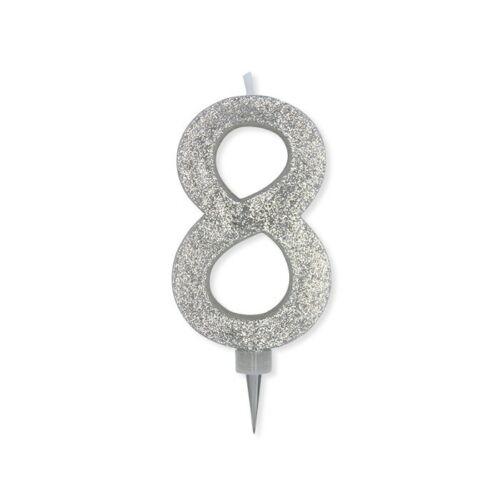 Candelina Glitter Maxi Numero 8 Colore Argento