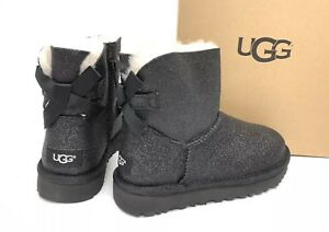 976f23ff9bc Details about UGG Australia Mini Bailey Bow Sparkle Black BOOTS 1100053  Women's Glitter