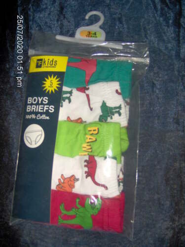 5 PAIRS BOYS BRIEFS PIRATE or DINOSAUR AGES 3//4-5//6-7//8 YEARS COTTON