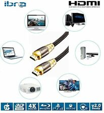 IBRA 2M HDMI 2.0/v1.4A LUXURY GOLD Cable HDTV 3D 2160P Full HD Lead 2 Metre