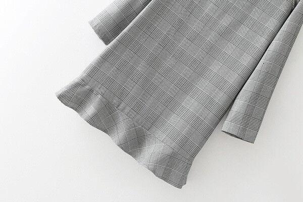 Elegante vestito abito corto corto corto grigio colletto scampanato maniche lunghe 3959 35e366