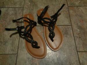 0a99308c00f8e4 Image is loading merona-black-braided-strappy-sandals-shoes-size-11