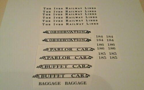 IVES PRE-WAR STANDARD SCALE 184-185-186 BLACK WATERSLIDE DECAL W/SERIF LOOK!