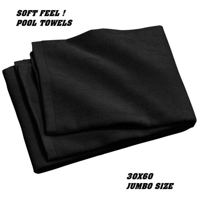7 jumbo black swimming hotel cabana beach towels pool towel 30x60 soft velour