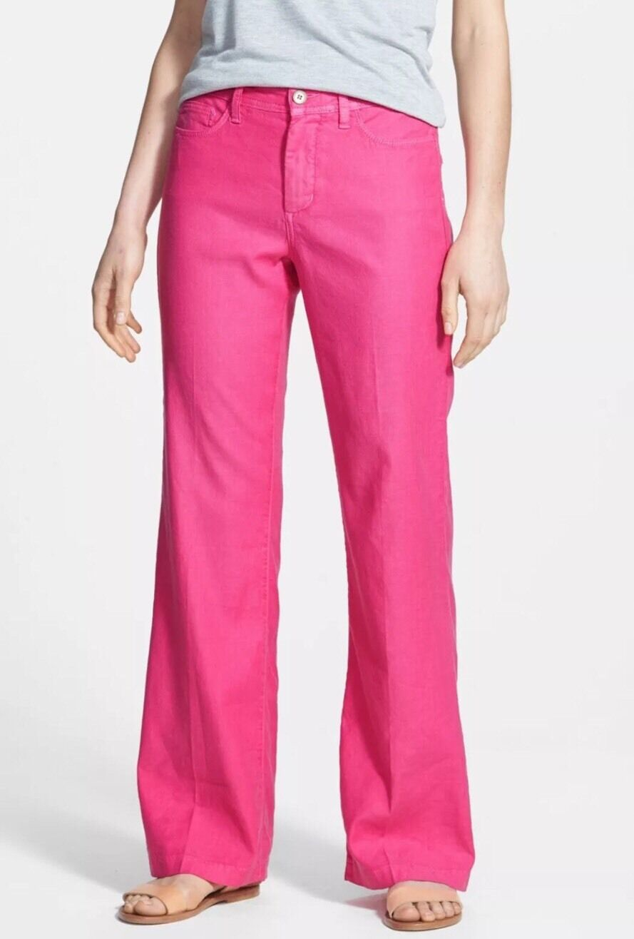 .. 114 NEW NYDJ NOT YOUR DAUGHTERS JEANS WYLIE Trouser Linen Stretch PINK 6