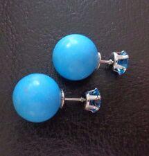 Southwest Blue Turquoise 12mm/Blue Zircon Double End Style SPL Stud Earrings