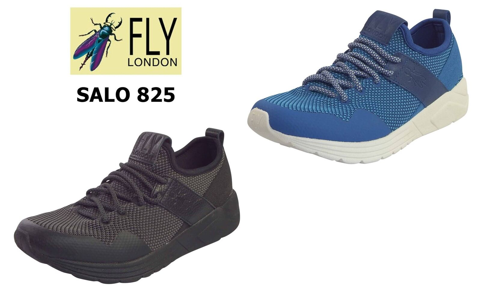 Fly London Ladies SALO 825 Textile Knit + Leather Low Top Lightweight Trainers