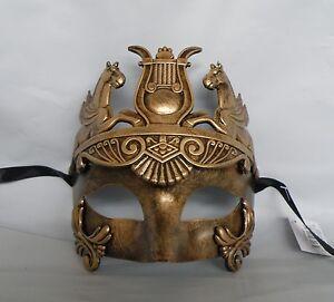 Mens-Egyptian-Roman-Venetian-Masquerade-Gold-Face-Party-Mask-NEW