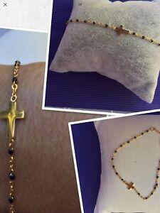 Collier Chapelet Croix Perles Résine Bleu Turquoise Plaqué Or Réglable Réf Gigi3