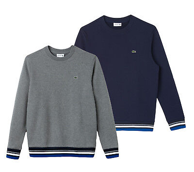 Lacoste Mens Sweater STRIPED ACCENT FLEECE SWEATSHIRT LACOSTE SH6951 NEW