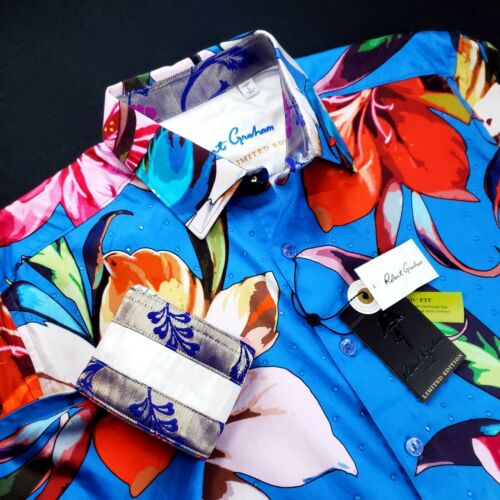 Robert Graham LIMITED EDITION Ariel $399 Embroidered Floral Crystal Geo Shirt