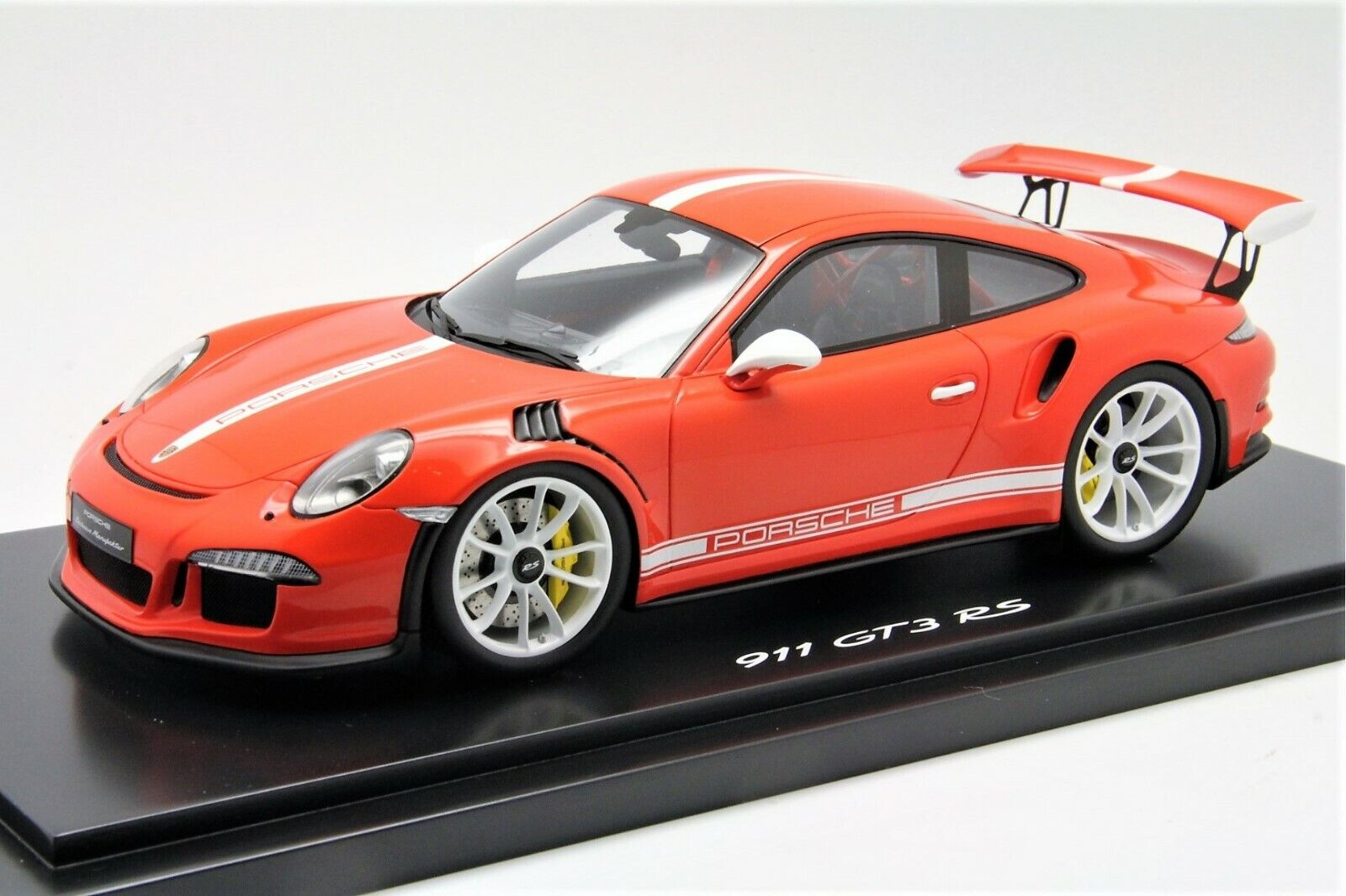 1  18 Spark Porsche 911 (991) GT3RS Lava orange vit Stripe fri Shipping   MR BBR