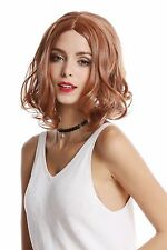 Damen Perücke kurz schulterlang Mittelscheitel wellig lockig Blond Rotblond