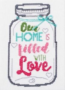 "NEW /""Made with Love/"" Mason Jar Lid Counted Cross Stitch Kit by New Berlin Co"