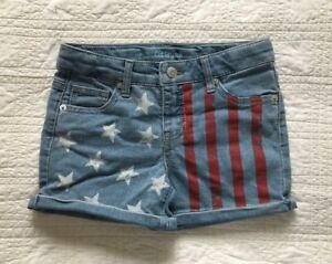 New-Girls-Stars-And-Stripes-Stretch-Denim-Shorts-Choose-Size