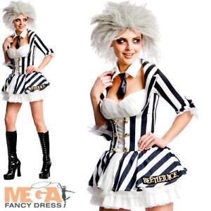 Beetle Juice Wig Ladies Fancy Dress Halloween Sexy Beetlejuice Costume Outfit Ebay