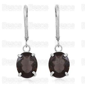 6-5ct-SMOKY-QUARTZ-dropper-earrings-OVAL-CUT-solid-Sterling-Silver-925-UK-GIFT