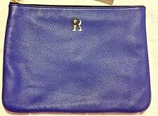 Rebecca Minkoff Jody Pouch R Letter Large Clutch ROYAL Blue LEATHER Zip Top New