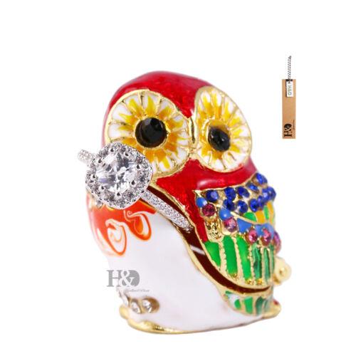 Red Mini Fashion Enamel Alloy Metal Owl Bird Trinket Box Rhinestone Jewelry Box