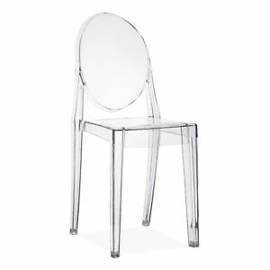 Set of 2 Dining Chair Clear Transparent Retro Kartell Victoria Ghost ...