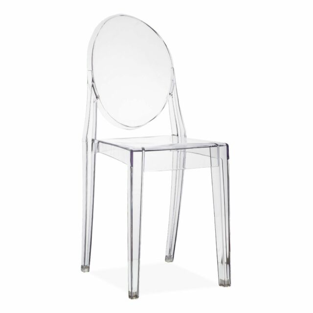 Set of 4 Dining Chair Clear Transparent Retro Kartell Victoria Ghost ...