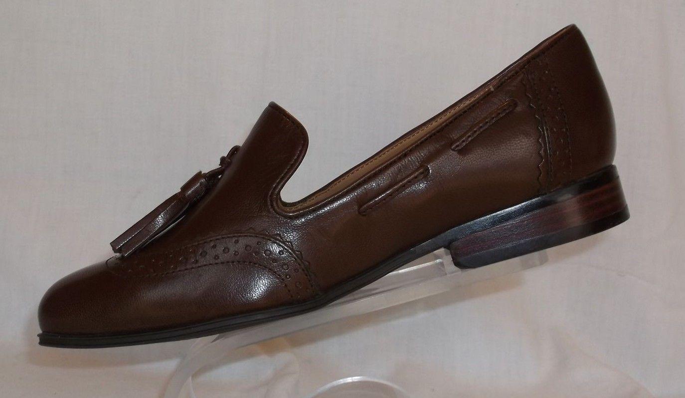 Nuevos Nine West De Cuero Marrón Zapato Zapato Zapato Mocasín bomba Borla Plana De Fumar Talla 6.5 M 9f8c88