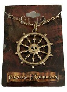 Pirates Of The Caribbean Necklace Skull Ship Wheel New Deadstock 2007 Disney