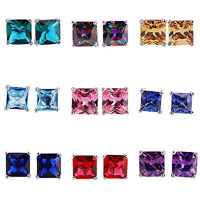 Amethyst Morganite & Sapphire Quartz & Ruby Spinel Gemstone Stud Silver Earrings