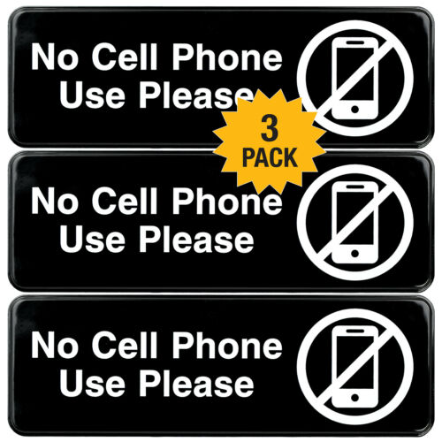 No Cell Phone Use Sign Plastic Sign with Symbols 9x3 Pack of 3 Black