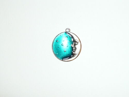 """Moon /& Stars Metal Charm for Bracelet 11//16/""""  Blue /& Silver in Color"""