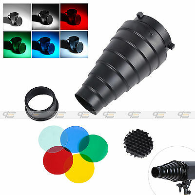 Bowens Mount Aluminum Snoot With Honeycomb Grid +5 Colors Filters