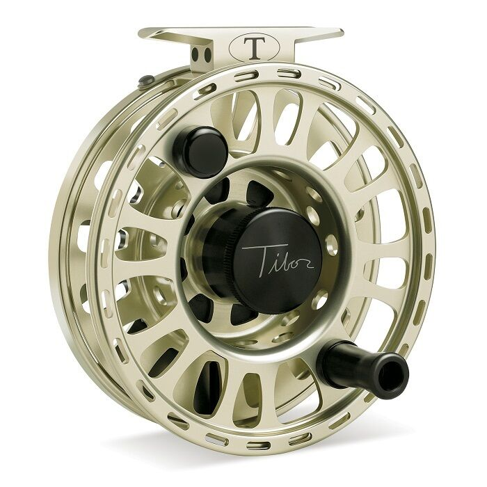 Tibor Signature Fly Reel, Size 7 8, Satin gold, NEW   FREE FLY LINE