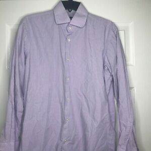 Hugo-Boss-Mens-Purple-White-Check-Dress-Shirt-Size-15-5-32-33-Regular-Fit-B3