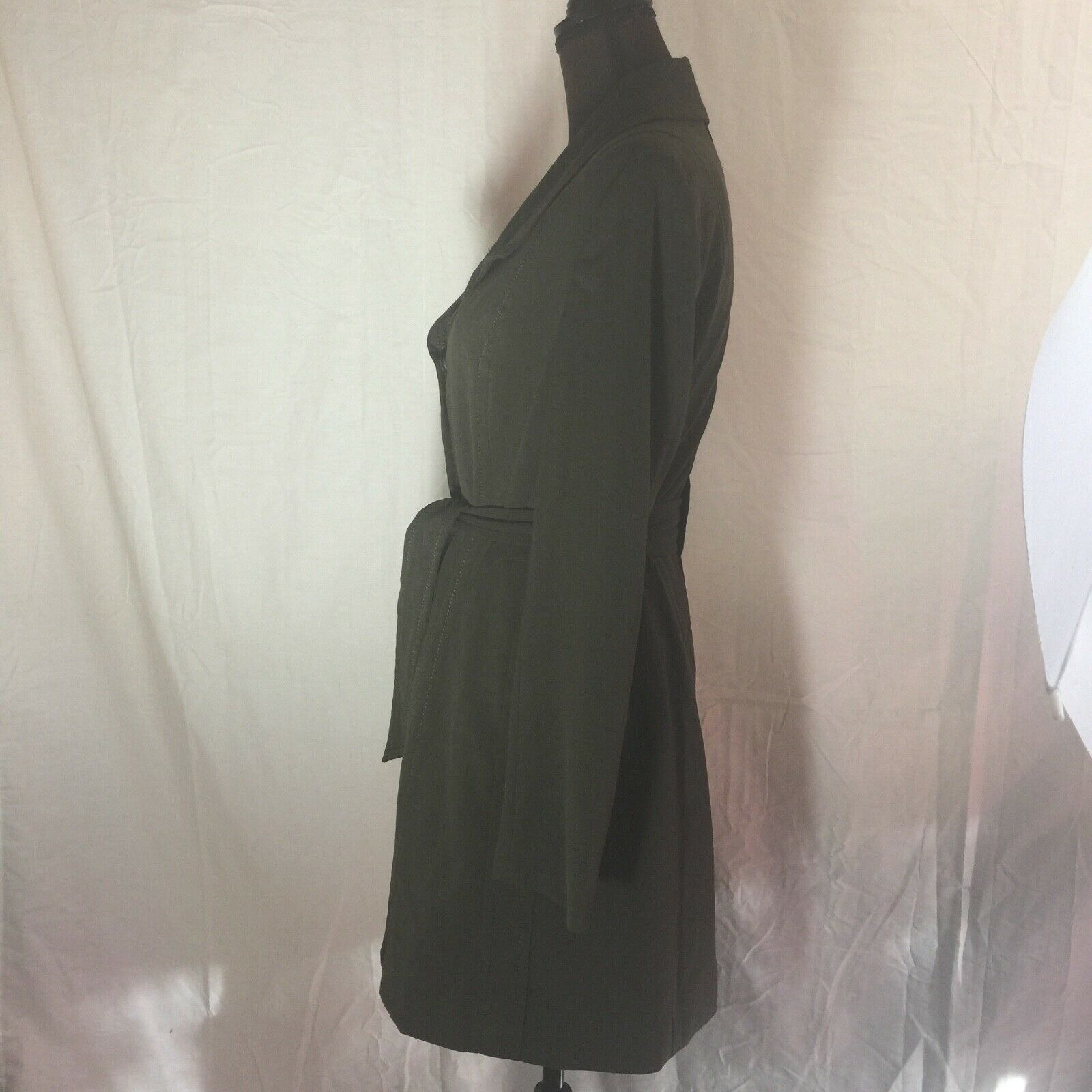 Size 10 Women's Larry Levine Olive Green Trench C… - image 6