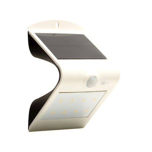 Luceco Solar Guardian Wall Light With PIR White IP44 No Wiring Required