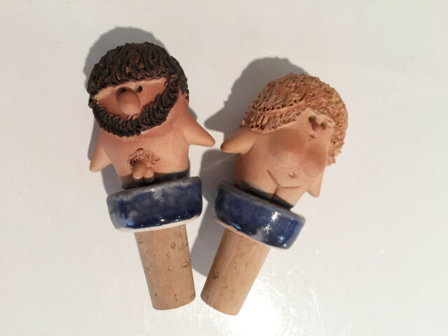 Vintage Federigo Fabbrini Adam & Eve Pottery Ceramic Cocktail Bottle Stoppers