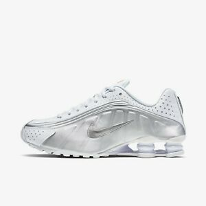 ab0160aa532 Details about New Nike Shox R4 Athletic Shoes Sneakers - White/Metallic  Silver(104265-131)