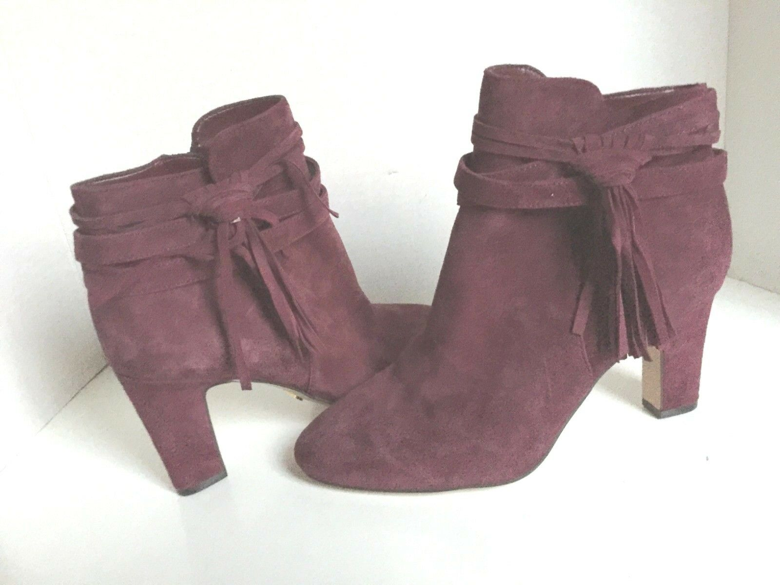 Lauren Ralph Lauren Plum Purple Suede Ankle Bootie Boots 8