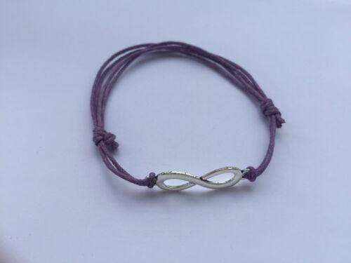 Pulsera algodón aspiraran cuero Infinity lila