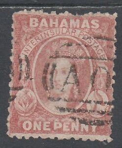 BAHAMAS 1863 QV CHALON 1D WMK CROWN CC REVERSED
