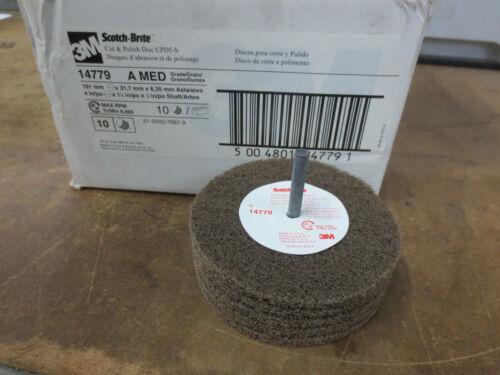Box of 10 3M Scotch-Brite 14779 Cut /& Polish Discs 4 x 1-1//4 x 1//4