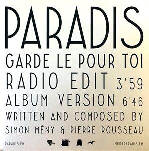 CD-PROMO-RARE-PARADIS-GARDE-LE-POUR-TOI-RADIO-EDIT-CARDBOARD-SLEEVE-PROMO-NEUF
