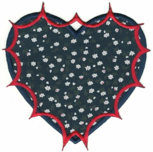 """4/"""" Blue Red White Flower Floral Print Heart Embroidery Patch"""