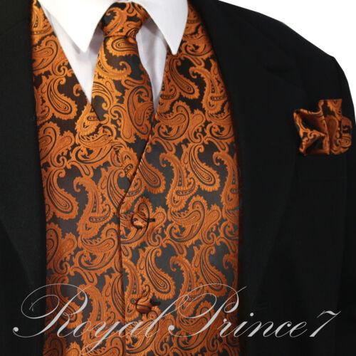 Rust Orange XS 6XL Paisley Tuxedo Dress Vest Waistcoat /& Neck tie And Hankie