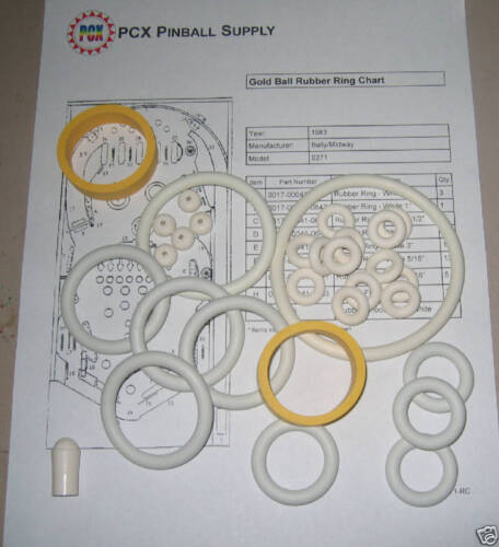 1983 Bally//Midway Gold Ball Pinball Rubber Ring Kit