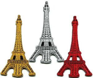 Eiffel Tower Black White Embroidered Iron On Patch 2.25 Inch