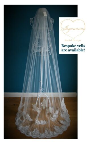 Wedding Veil *Cathedral Length*1 T *Corded Lace Appliques*Ivory/&Off white*