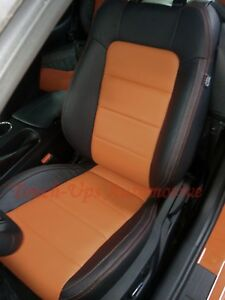 Peachy Details About 2015 2019 Ford Mustang Coupe Katzkin Leather Seat Covers Black Orange Two Tone Andrewgaddart Wooden Chair Designs For Living Room Andrewgaddartcom