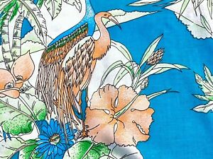 Sale-Miami-Vice-1980-039-s-Barkcloth-Era-Vintage-Fabric-Decorator-Flamingo-Fabric