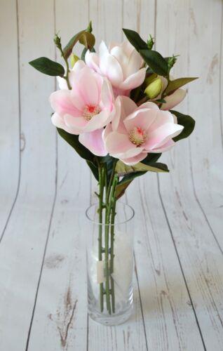 Artificial Pale Pink Magnolia Bunch x 7 stems Vases Displays Weddings